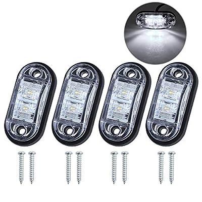 4 x 4LED Seitenleuchten Wasserdicht IP68 E-Mark mit Schrauben Gummimatte Seitenmarkierungsleuchten Lampen Universal…