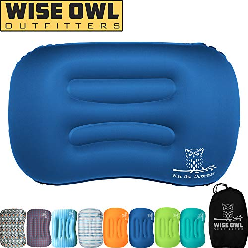 Wise Owl Outfitters Ultralight Inflatable Air Camping Pillow Compressible Compact Inflating Small Travel Pillows for Sleeping Backpacking Hammock Car Camp, Beach - Smart Push Button Air Valve – Blue