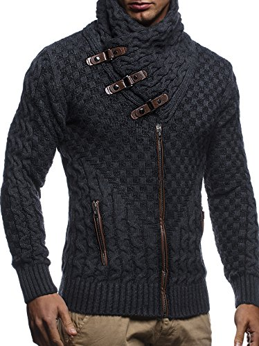 Designer Cardigan Sweater (Leif Nelson LN5340 Men's Knit Zip Cardigan; Size L, Anthracite-Black)