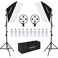 CRAPHY 20x28 Studio Soft Box 4 Socket Photography Continuous Lighting Kit with 10pcs 45W Light Bulbs, 2x 4-Head Lighting Holder and Carrying Bag