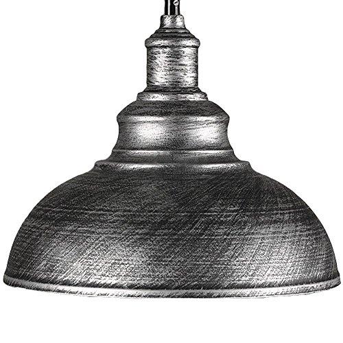 Pendant Light MKLOT Ecopower Industrial Retro style Iron 118 Wide Antique Rust Loft Fixture Pendant Lighting Lamps with 1 Light Silver