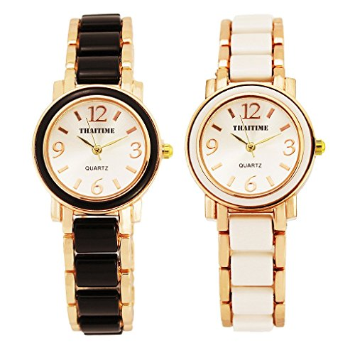 ThaiTime 2pcs Fashion Design Pretty Girls Woman Wrist Watches