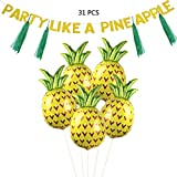 YoungRich Party Decor Set Including 25 PCS Pineapple Foil Balloons Helium Balloons 5 PCS Paper Tassel 35cm Green 1 PCS Bunting Sparkly Sequins Gold Christmas Birthday Themed Party