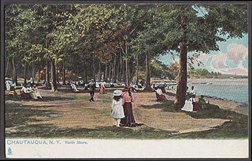 People relaxing on the North Shore at Chautauqua NY postcard ca 1910