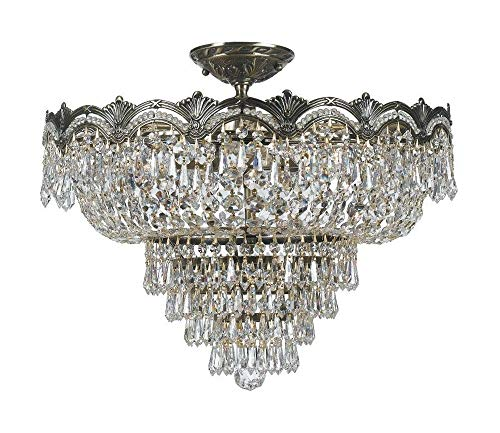 Crystorama 1485-HB-CL-S, Majestic Swarovski Crystal Semi Flush Lighting, 5 Light, 300 Watts, Brass