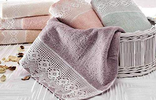 (MinTurk Nostalgic Lace Decorative Promotional Turkish Hand Towel - (Buy 4-Pack Pay 2-Pack) - Cappuccino Color)