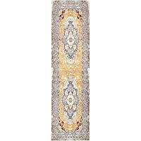 Unique Loom Aria Collection Light Blue 3 x 10 Runner Area Rug (2 7 x 9 10)
