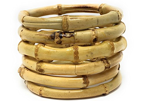 (Sidecca Tiki Pinup Natural Bamboo Bangle Bracelet Set (Natural (Round, Set of 6)))