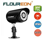 Floureon 900TVL CCTV Security Bullet Camera 4mm Lens 24 Infrared Leds Camera with 15m Night Vision IP66 Waterproof Outdoor