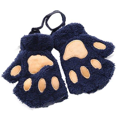 TAORE Women Bear Plush Kitty Cat Paw Knitted Fingerless Velvet Mitten Soft Winter Gloves