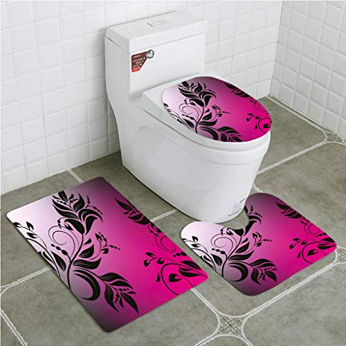 - Bathroom Mat Sets 4 Piece-Non-slip - short plush Floral Swirled Victorian Branch Backdrop in Dark Tone Elegance Shabby Chic Vintage Bathroom Rug + Contour pad + lid Toilet seat+Toilet seat cushion