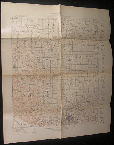 Murphysboro Vergennes Bradley Sand Ridge Illinois 1912 Antique Color Geology Map