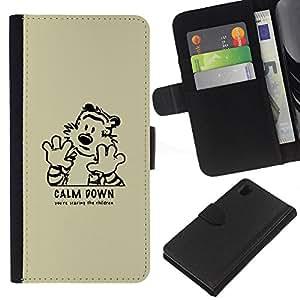 LECELL--Cuero de la tarjeta la carpeta del tirón Smartphone Slots Protección Holder For Sony Xperia Z1 L39 -- Calma tigre de Down --