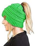 BT-6020a-87 Messy Bun Womens Winter Knit Hat Beanie Tail - Neon Lime Green