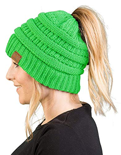- BT-6020a-87 Messy Bun Womens Winter Knit Hat Beanie Tail - Neon Lime Green