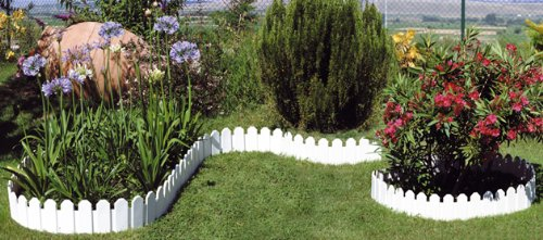 Bordure Giardino In Plastica.Bordura Per Giardino Country In Set Di 4 Colore Bianco Amazon It