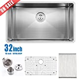undermount kitchen sinks for sale Comllen Commercial 32 Inch 18 Gauge 10 Inch Deep Handmade Undermount Single Bowl Stainless Steel Kitchen Sinks, Including Dish Drying Rack and Dish Grid Kitchen Sink
