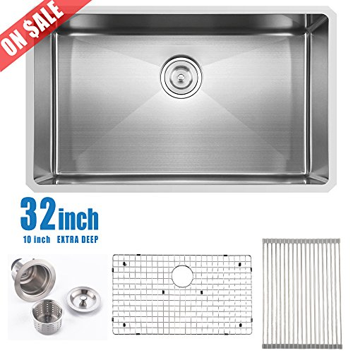 19' Stainless Steel Sink (Comllen Commercial 32 Inch 18 Gauge 10 Inch Deep Handmade Undermount Single Bowl Stainless Steel Kitchen Sinks, Including Dish Drying Rack and Dish Grid Kitchen Sink)