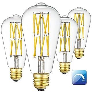 Vintage LED Edison Bulb,12W Filament Light Bulb, 3000K Soft White 1200LM, 100W Incandescent Equivalent, E26 Base, ST64 Vintage LED Bulbs, Clear Glass, Pack of 4.