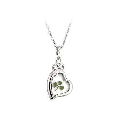 Trinity knot heart real shamrock necklace irish madeamazon trinity knot heart real shamrock necklace irish made audiocablefo
