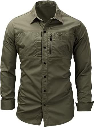 NOBRAND Camisa de manga larga para hombre con cremallera de ...