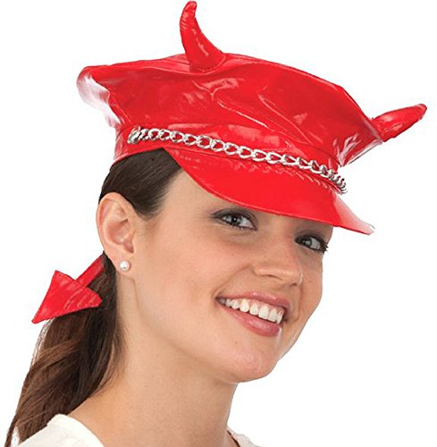Red Devil Leather Costume (Vinyl Biker Devil Hat with Horns and Tail)