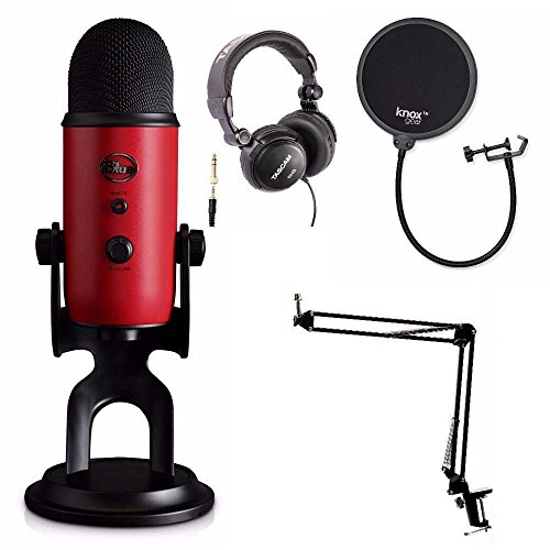 Blue Microphones Yeti Red USB Microphone with Knox Studio Stand, Studio Headphones and Pop Filter