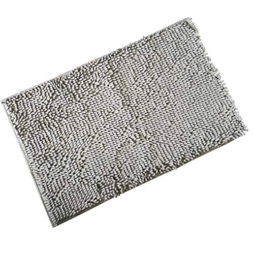 FINECASA Chenille Absorbent Comfortable Bathroom Mat Rugs Strong Anti-Slip Plush Carpet Mats 32''x20'' Light Grey