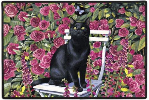 Black Cat in the Rose Garden Felines Kittens Doormat Rug Mat (Doormat Kitten)