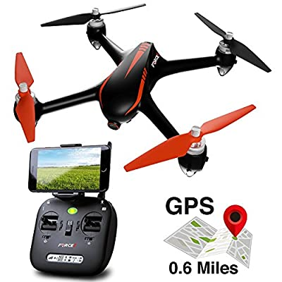 Force1 Drone with Camera Live Video and GPS Return Home Brushless Motors HD Drone 1080p Camera FPV MJX B2W Bugs 2 Quadcopter by Force1