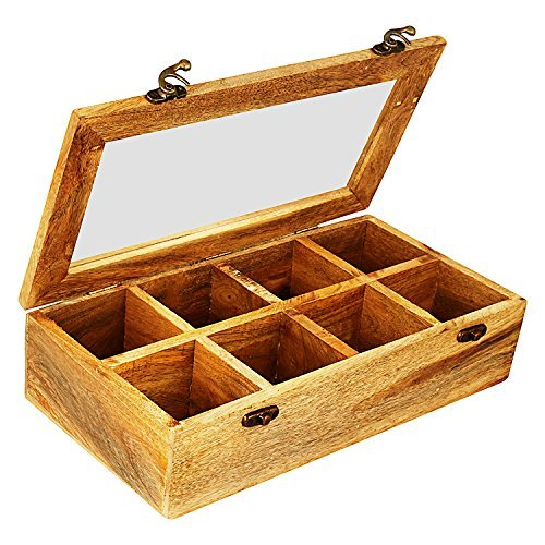 Wooden Tea Box Storage Chest Organizer Container Holder Rack With 8 Storage Compartments For Assorted Variety Of Tea bags Loose Tea Spices & Herbs Natural Eco Friendly Vintage Rustic Decorative Box