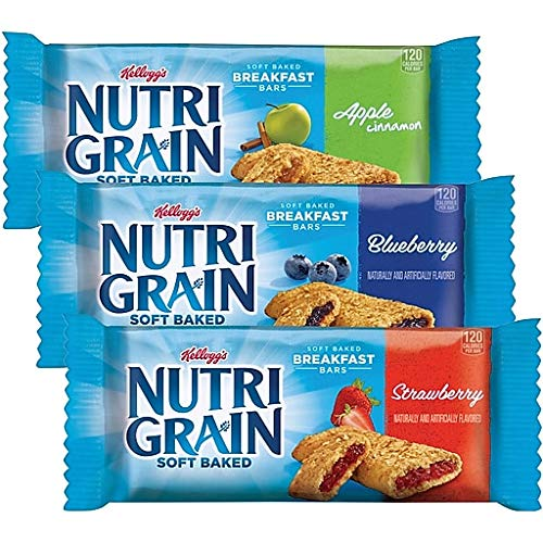 Nutri-Grain Soft Baked Whole Grain, Real Fruit Breakfast Snack Cereal Bars Variety Pack: Apple Cinnamon/Blueberry/Strawberry - 48 Count (1.3 oz.)