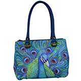 Anuschka Hand Painted Deisgner Leather Handbag- Christmas gifts for women-Triple Compartment Medium Tote (Jeweled Plume 626 JPL )