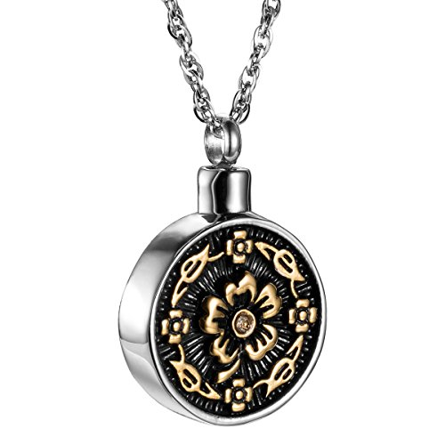 Round Two Tone Flowers Pendant Cremation Jewelry Urn Necklace Memorial-Ashes Holder Keepsake by AMIST (Heart) (Two Tone - Two Heart Necklace Tone Locket