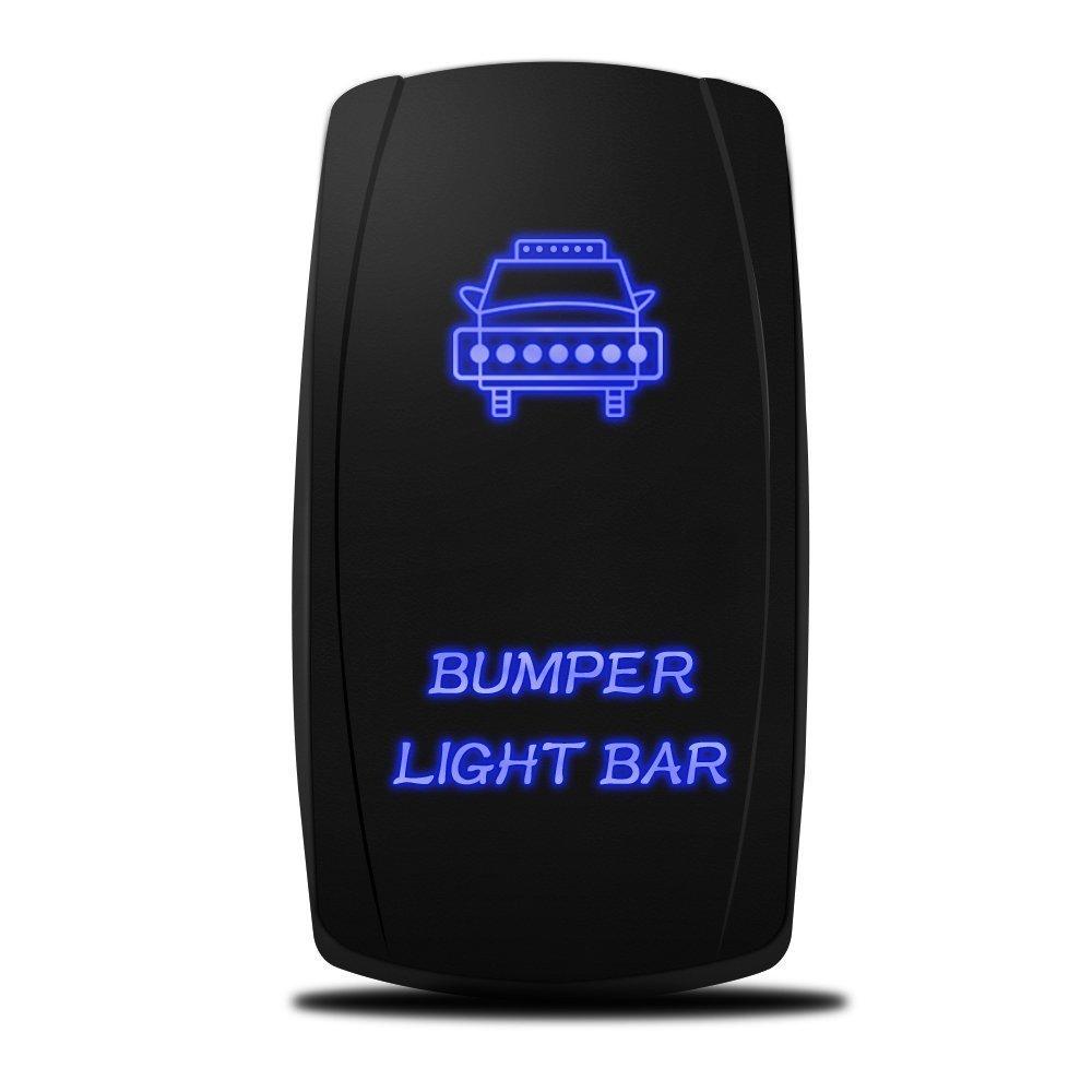 CDM product MicTuning LS081502JL Backlit Bumper Lights, Rocker Switch Kit, On/Off LED Light, 20A, 12V, Toggle, Blue big image
