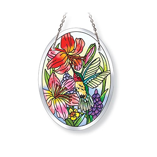 Amia Hand-Painted Hummingbird Beveled Glass Small Oval Suncatcher, 4-3/4 Inches High, 42123, 4-3/4