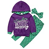 Jchen(TM) Little Girl Sweatshirt Sets Baby Kids Girl Mermaid Hoodie Tracksuit Pullover Tops Pants Headband Outfits for 0-5 Y (Age: 0-1 Years Old, Purple)
