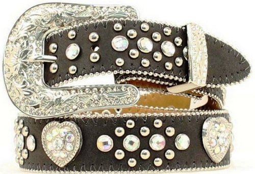 [Nocona Girls' Heart Concho Leather Belt Black 26] (Western Rhinestone Black Belt)