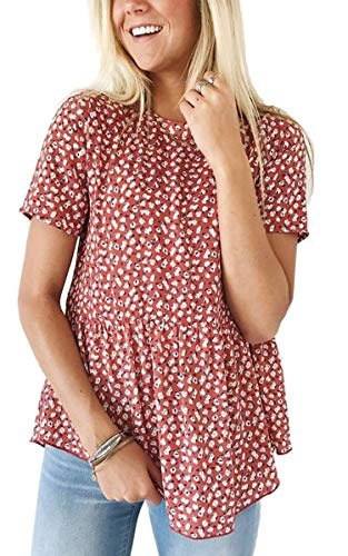 Angashion Women's Tops - Casual Floral Crew Neck Short Sleeve Flare Tunic T Shirt Blouses Red ()