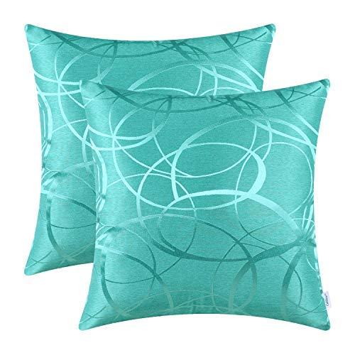 CaliTime Pack of 2 Cushion Covers Throw Pillow Cases Shells for Couch Sofa Home Decor Modern Shining & Dull Contrast Circles Rings Geometric