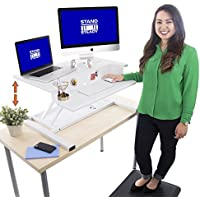 Stand Steady FlexPro Air 32 inch - Two Level Standing Desk – Instantly Convert Any Desk to a Stand Up Desk –Perfect for home, school, or corporate office. No Assembly Required! (White 32)