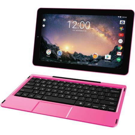 2018 RCA Galileo Pro 2-in-1 11.5'' Touchscreen High Performance Tablet PC, Intel Atom Quad-Core Processor, 32GB SSD, 1GB RAM, WiFi, Bluetooth, Webcam, Keyboard, Android 6.0, Pink by RCA