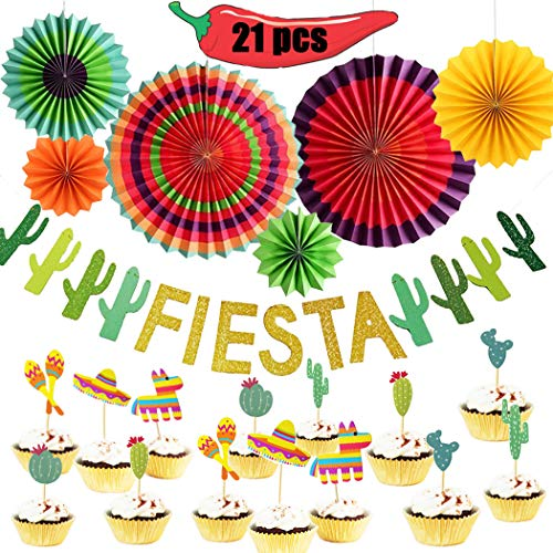 Happy Storm Fiesta Party Decorations Mexican Fiesta Party Decorations Cinco De Mayo Cactus Banner Colorful Hanging Paper Fans Cupcake Toppers West Llama Themed Birthday Party Supplies (21 -