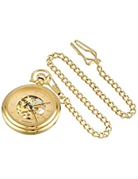 Akribos XXIV Men's AKR453YG Mechanical Skeleton Gold-Tone Pocket Watch