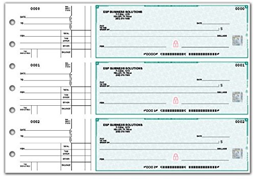 High Security 3-On-A-Page Business Size Checks with stub, 250 Count (Green) - High Security Checks