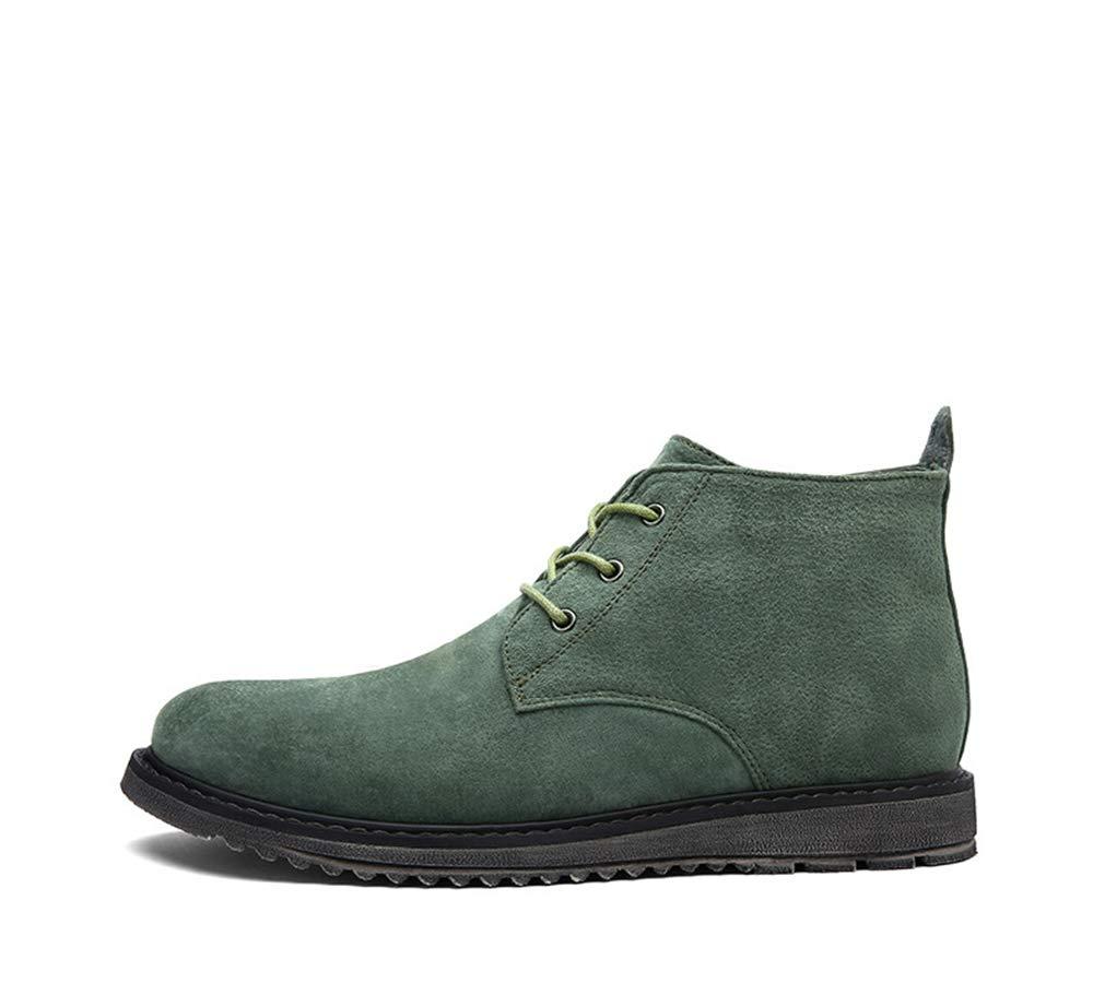 Qiusa Mens Casual Stiefeletten Soft Sole Rutschfeste Durable Breathable Comfort Stiefel (Farbe   Grün, Größe   EU 39)