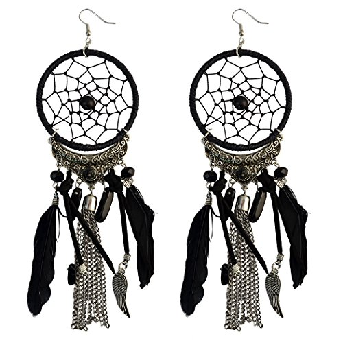 (Feather Dream Catcher Leather Resin Beads Wings Chain Tassel Pendant Long Necklace Earring Drop (Black earring))