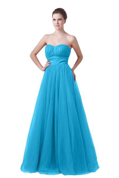 Sunvary Fashion una línea novia de tul vestido largo de noche Prom