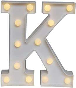 Sunnyglade White Marquee LED Alphabet Lights Arabic Numerals Lights for Party Home Bar Wedding Decor, Alphabet Wall Decoration Letter Lights (K)
