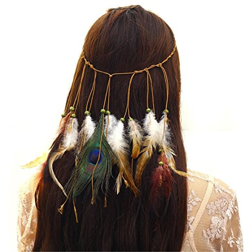 Tmrow 1pc Women Girl Indian Vintage Boho Gorgeous Peacock Jade Feathers Hair Band Suede Braided Headband Tie,1#]()